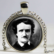 Edgar Allan Poe necklace Antique Raven Nevermore Black and White Art pendant Vintage portrait jewelry(China)