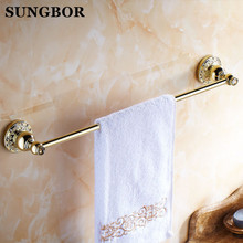 Bathroom accessories golden brass 60cm single towel bars bathroom towel rack wall mounted antique bathroom towel bars shelf(China)
