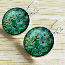 Dome Fashion Accessories Crystal Earrings Unique Art Peacock Wiggling Feather Earring Jewelry Charm Pendant Handmade Gift EF31