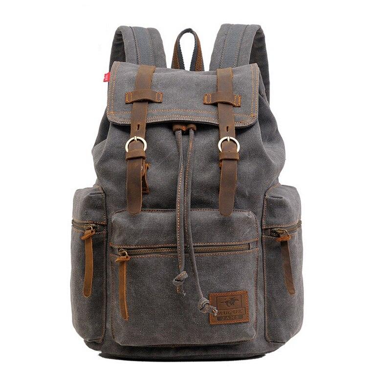 2016 school backpack for boy Premium canvas large capacity mens bag unisex women rucksack grey brown black male female knapsack<br>