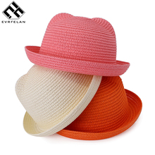 Fashion Children Straw Caps Baby Ears Decoration Character Lovely Sun Hat Kids Solid Beach Hats For Girls and Boys Summer Hats