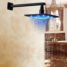 Bathroom LED Color 16 Inch Top Shower Head with Wall Mounted Shower Arm Oil Rubbed Bronze(China)