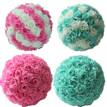 "6.8""(17cm) Tiffany Blue Silk Kissing Artificial Rose Flowers Ball for Wedding Tea Party Decoration Christmas Decoration Supplies"
