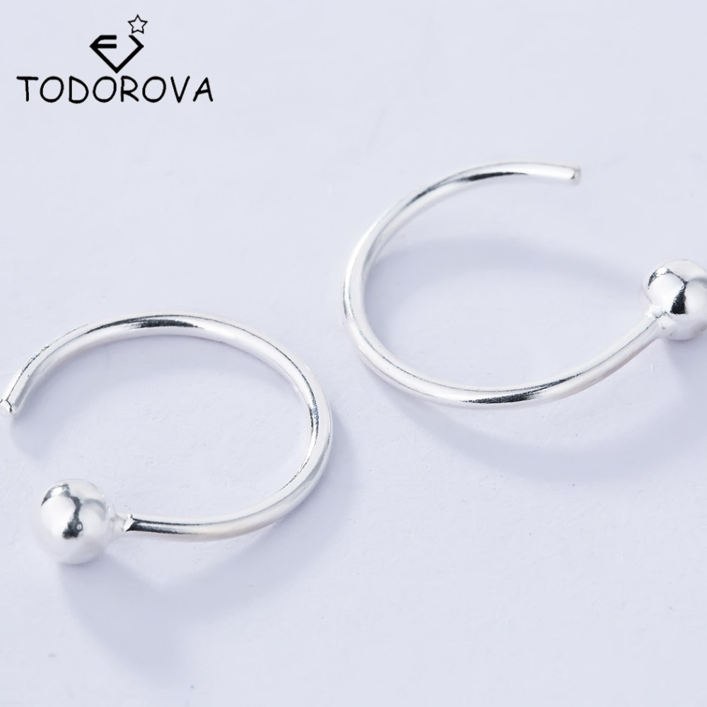 Todorova Personalized 925 Sterling Silver Earrings Hoop with Tiny Silver Ball Round Small Hoop Earrings for Women Jewelry(China (Mainland))