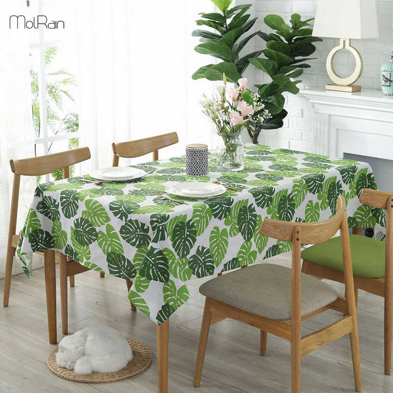 Monstera Green Leaves Tablecloth For Kitchen Dining Decorative Cotton Linen Table Cloth Rectangle Indian Style