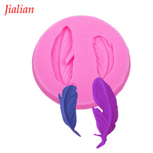 Jialian New Food-grade Silicone Mold 3D bird Feathers Fondant Cake pop recipe Decorating Tools FT-0780(China)
