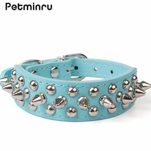 Petminru Pet Small Dog Collar Adjustable Harness Spiked Studded Faux Leather Punk Rivet Dog Collar PU Round Dog Supplies(China)