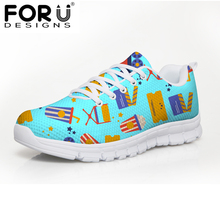 FORUDESIGNS Brand Designer Flats Women Shoes Cute Spring Movie Puzzle Lace-up Sneakers Women Flat Female Comfortable Mesh Shoes(China)