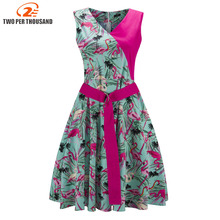 Buy Retro Cotton Rockabilly Flamingo Floral Print Dress Summer 1950s Retro Vintage Dresses Women Clothing Robe Pin Vestidos for $11.27 in AliExpress store