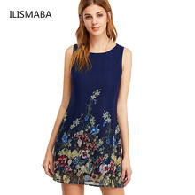 ILISMABA 2017 Summer Sexy The New Ms Fashion Harajuku Chiffon Dresses Printing Floral Pattern High Quality Women Brands Dresses