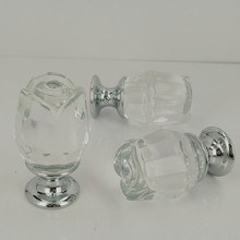 24mm K9 Crystal Glass Cabinet Knob Cupboard Drawer Pull Handle Clear Rose Crystal Handles(China)