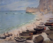 Boats on the Beach at Etretat High quality Claude Monet Canvas Art for sale Impressionist Painting Landscape Handmade Home Decor
