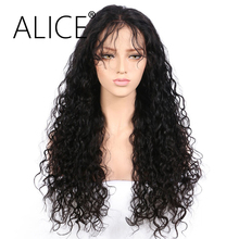 ALICE Pre Plucked Glueless Brazilian Full Lace Human Hair Wigs For Black Women With Baby Hair Remy Hair Kinky Curly Lace Wig(China)