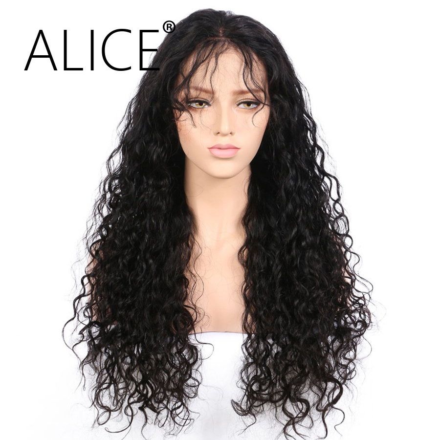 ALICE Pre Plucked Glueless Brazilian Full Lace Human Hair Wigs For Black Women With Baby Hair Remy Hair Kinky Curly Lace Wig(China (Mainland))