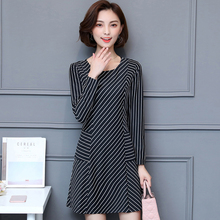 Classic Black And White Striped Long Sleeve Slim O Neck Casual Women Mini Dress Fall New Autumn All Match(China)