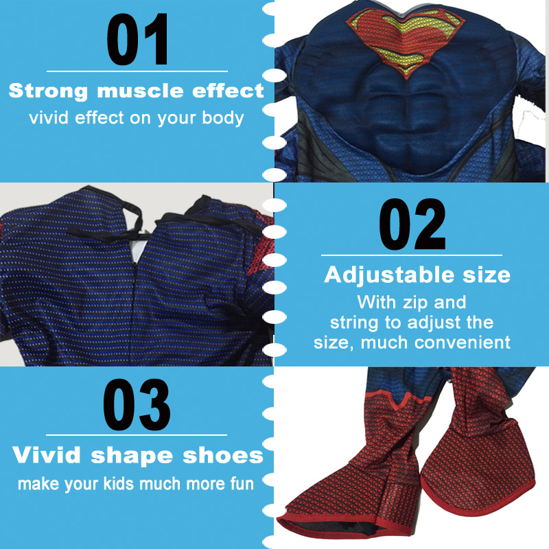 Purim Superman Costume For Kids 105 Between 140cm Halloween Childrens Superman Costume Cosplay Party Superman Dress For Kid (5)23