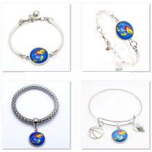 2017 Popular Bracelet Bangle Kansas Jayhawks Basketball Team KU NA Charms Sport Bracelet Wholesale Jewelry 10pcs/Lots  SPT073