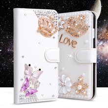 Bling Rhinestone case For Lenovo Vibe K5/K5 plus/Lemon 3/A6020a40/A6020a46 Wallet PU Leather Cover Filp Stand Diamond Phone Bag(China)