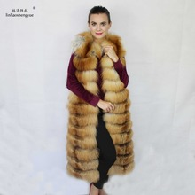 linhaoshengyue real red  fox  fur  vest  120cm  long