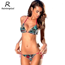 Buy 2019 Arrival Sexy Bikinis Women Swimsuit Push Swimwear Summer Beach Wear Printed Brazilian Bikini Set Bathing suits Swim Wear