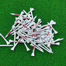 50pcs 54MM White Wooden golf Ball Tees Red Printing Golf Tee New(China)