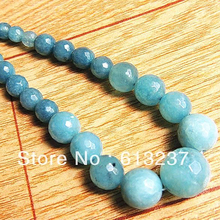 New Fashion Faceted Dyed Blue Round Beads 6-14mm Natural Stone chalcedony Strand Beaded Necklace For Women Jewelry 18'' GE1001