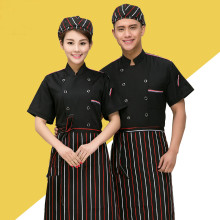 Summer Short Sleeve Che'f Jacket Restaurant Staff Overalls Western Food Chef Kitcheni Chef Wear Black Red Thin Chef Uniform 18