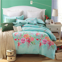 100%Cotton Blue flowers Duvet cover set king Twin Queen size Wedding bed set include One Quilt cover Two pillowcase  3PCS
