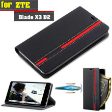 New For ZTE Blade X3 D2 T620 Case Flip Leather Ultra thin Back Case Cover For ZTE Blade X3 A452 With Phone Holder Stand Function