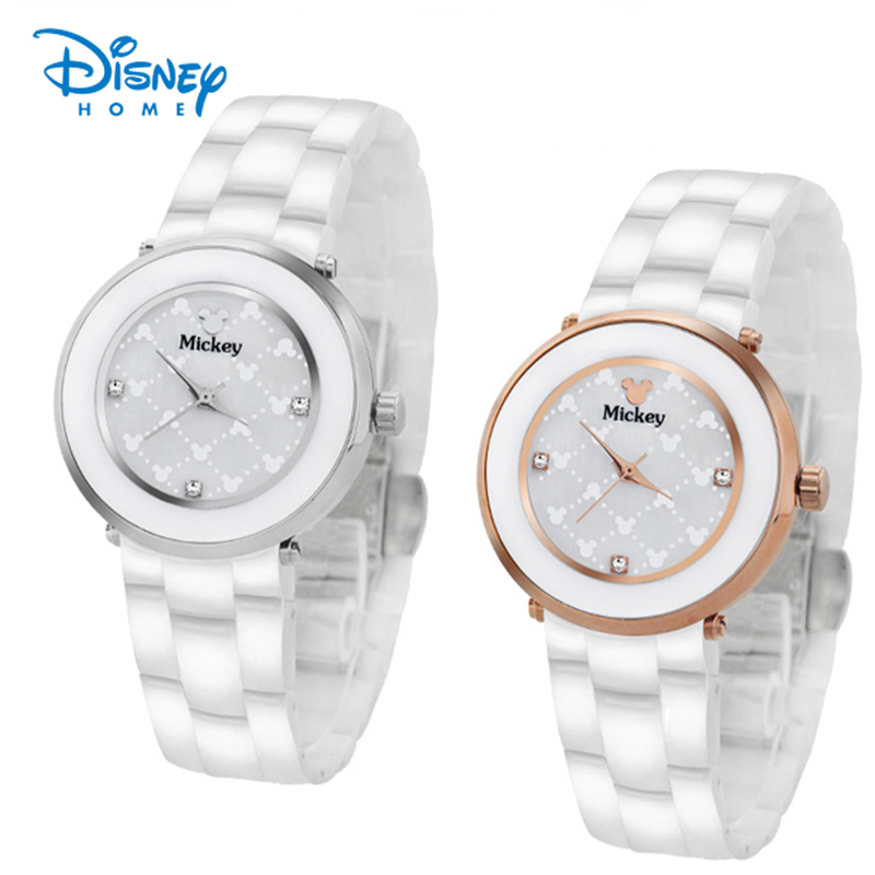 100% Genuine Disney Women Watch 2017 Luxury Silver Roes Gold Ceramic Watch Strap Fashion Casual Mickey Mouse Watches Relogio <br>