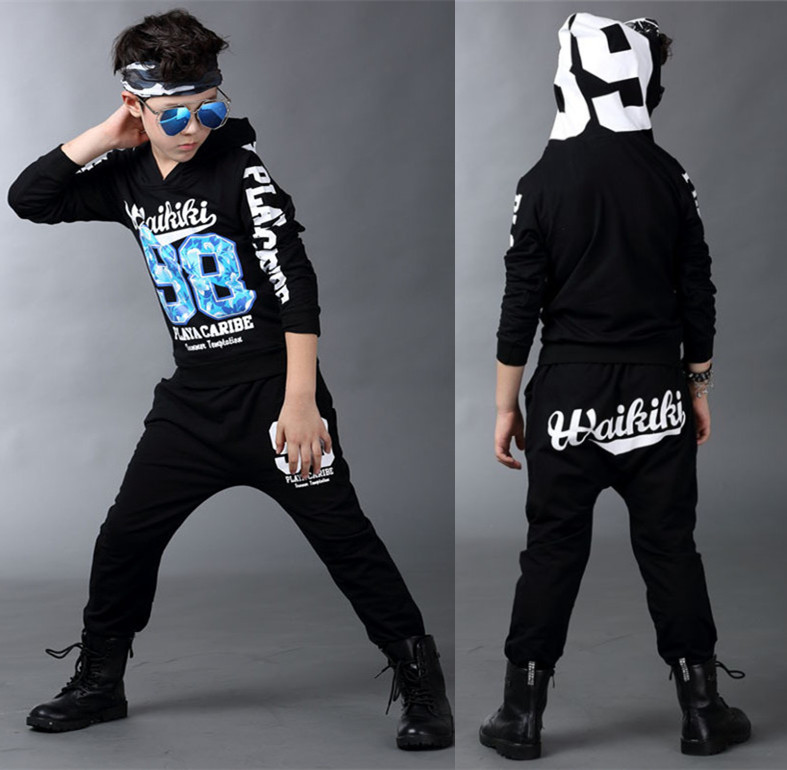 New childrens clothing set streetwear Costumes number 98 printing Long sleeve kids sport suits Hip Hop dance pant &amp; sweatshirt<br><br>Aliexpress