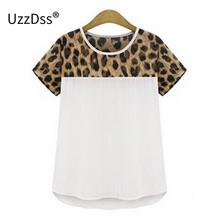 Woman blouses Summer Chiffon clothing Leopard Print Patchwork Top Feminina Round Neck Short Sleeve Casual Clothing Blusas S-2XL