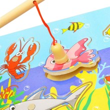 Hot Fishing Puzzle 3D Wooden Toys For Preschool Kids Magnetic Fishing Educational Toys(China)