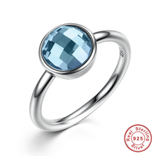 Summer Collection Pure 925 Sterling Silver Rings Blue Stone Finger Ring Women Fine Jewelry