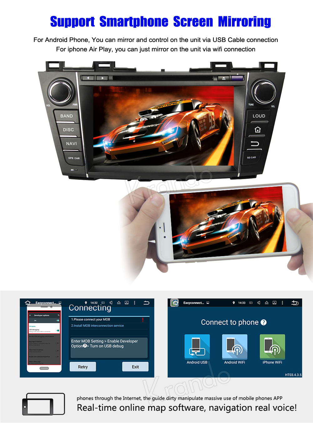 krando mazda 5 premacy android car radio gps dvd player navigation multimedia system (5)