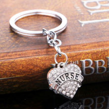 Hot Sale Crystal Heart Nurse Keyring Keychain Angel Gifts Accessories Party Dress Key Ring Jewelry Chain Souvenirs Charm