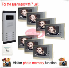 Seven/ 7 Units Apartment Building Color Video Intercom/video door phone Visitor Photo Memory ( support SD card photo storage)