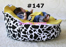 Cow + yellow seat / Skull + grey top baby rocking bed set, baby bean bag sofa chair with 2 upper covers