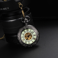 2015 New Luxury Antique Luminous Hollow Necklace Hollow Automatic Mechanical Pocket Watch Vintage Silver Pocket Watch With Chain