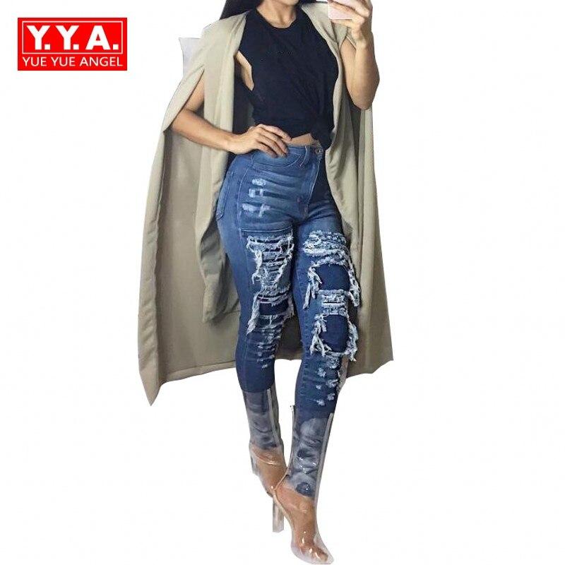 Harajuku Hip Hop Personalized Hole Ripped Jeans Classic Vintage Distrressed Womens Long Denim Pants Streetwear Blue Trousers Îäåæäà è àêñåññóàðû<br><br>