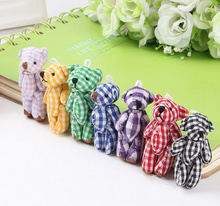 Lattice Bears , Mix Colors Cute Mini 4.5CM Joint Little Bear Plush Stuffed TOY DOLL ; Accessories Gift Plush TOY DOLL(China)