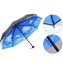Anti UV Sun Protection Umbrella Sky 3 Folding Parasols Rain Umbrella