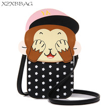 XZXBBAG Cute Animal Monkey Women Messenger Bags Girl Mini Pouch Students Long Crossbody Phone Case Cartoon Shoulder Bags XB138(China)