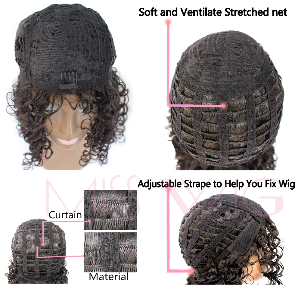 MISS WIG High Temperature Fiber Long Kinky Curly Wigs For Black Women Synthetic Black Afro Hair None Lace Have Bang