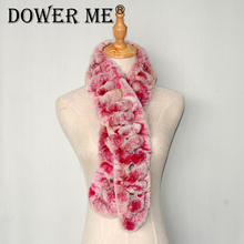 Dower me 2017 New genuine fur scarves quality Rabbit fur scarf for women wholesale retail with Rex Scarves S005