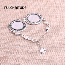 PULCHRITUDE 3pcs 22cm Alloy Antique Silver Chain Bracelet Hand Charm Round Cabochon base Setting Fit 20mm Dia Women Z0026
