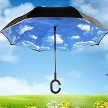 New Modern Upside Down Reverse Umbrella C-Handle Double Layer Inside-Out Blue Sunny Sky Umbrellas 2017 Hot Sale Free Shipping