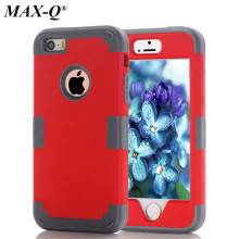 New Shockproof 3 in 1 Cell Phone Protective Cover Dual Layer Hybrid Armor Soft Silicone Hard Back Case For iPhone 5  5g 5s