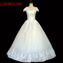 LOVSKYLINE Bridal Gowns Vestido longo Robe de mariage Sexy Wedding Dresses 2017 O-Neck Cap Sleeve Beading Pearls Flowers