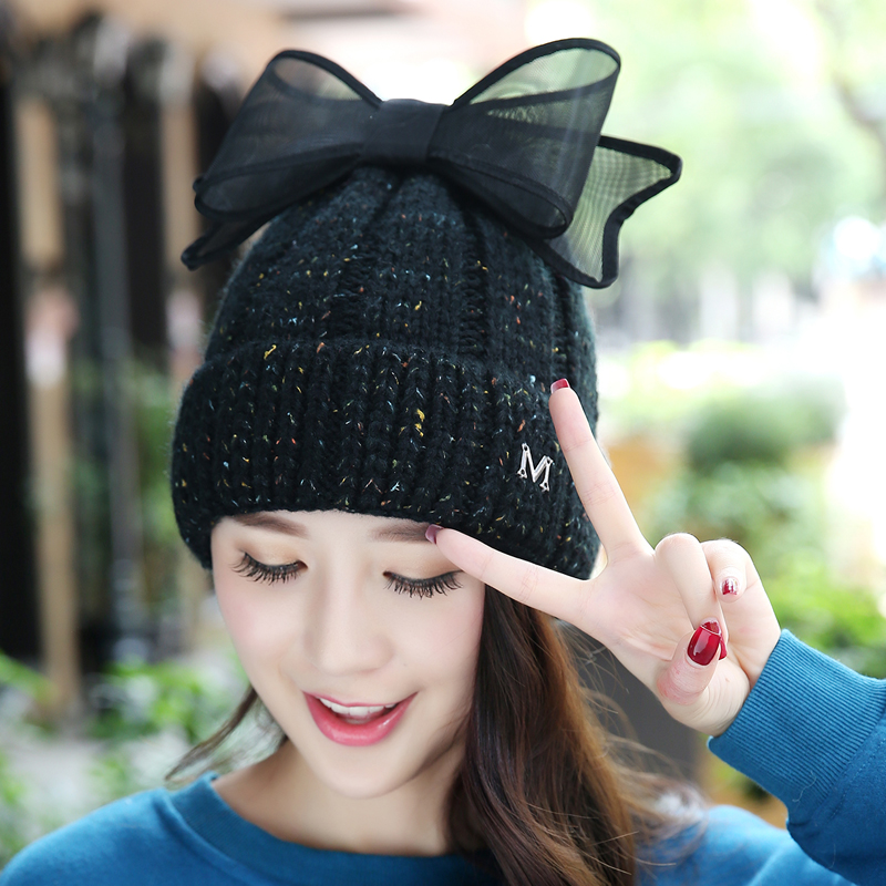 Hot Autumn Winter Warm Skullies Toboggans Beanies Womens Female Cute Sweet Vara Bow Fleece Lined Soft Nap Hemming M Knit GorroОдежда и ак�е��уары<br><br><br>Aliexpress